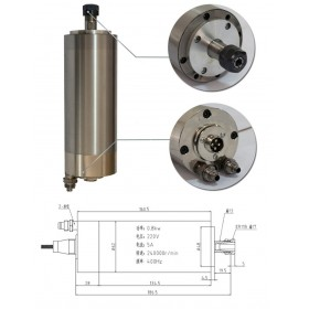 1HP 0.8kw 24000RPM ER11 water cooling Woodworking AC Spindle motor 62mm 2 bearings 220VAC 5A 400hz CNC Router