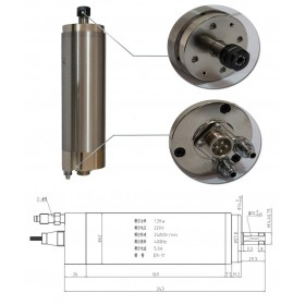 1.5HP 1.2kw 24000RPM ER11 water cooling Woodworking AC Spindle motor 62mm 4 bearings 220VAC 5A 400hz CNC Router